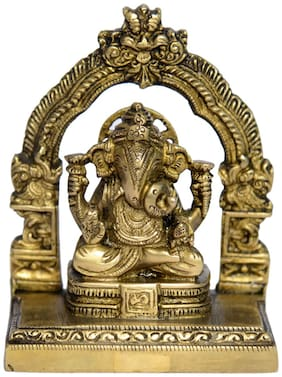 Brass Metal Statue of Kamal Dagdu Ganesh with Excellent Carving and Finishing Work by Bharat Haat BH00970
