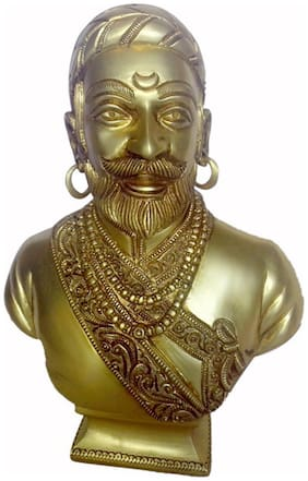 Beautiful work of Historical Statue of Chatrapati Shiva Maharaj Face Fine Work in Brass Metal by Bharat Haat BH00092