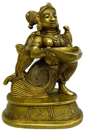 Pure Brass Metal Deep Lady in Fine Finishing and Decorative art by Bharat Haat BH04133
