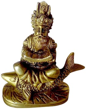 Brass Small Statue of Sindhi Hindu God Julelal with Beautiful Carving Work by India by Bharat Haat BH00125