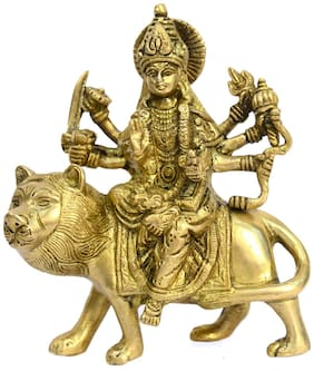 Bharat Haat Brass Hinduism Godess Ambe Maa - Devi Fine Carving Art