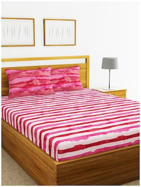 BIANCA Cotton Striped King Size Bedsheet 210 TC ( 1 Bedsheet With 2 Pillow Covers , Pink )