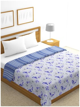 BIANCA 100% Cotton Muslin Dohar [With Cotton Flannel Filling]-- Gets Softer On Every Wash -1pc Double size (mezzo) abstract-indigo