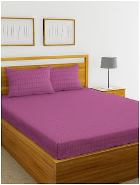 BIANCA Cotton Checkered King Size Bedsheet 210 TC ( 1 Bedsheet With 2 Pillow Covers , Purple )