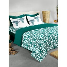BIANCA Cotton King Size Double Bedsheet With 2 Pillow Covers Chantal Green (Set of 3)