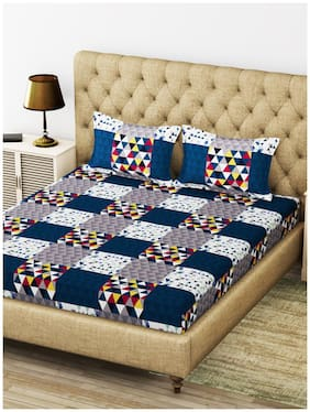 BIANCA Microfiber Geometric King Size Bedsheet 200 TC ( 1 Bedsheet With 2 Pillow Covers , Blue )