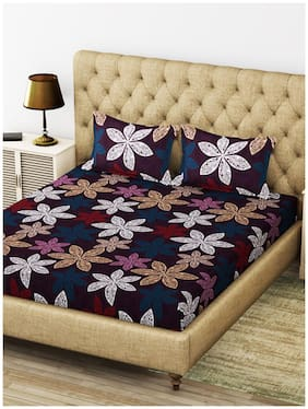 BIANCA Microfiber Floral King Size Bedsheet 200 TC ( 1 Bedsheet With 2 Pillow Covers , Purple )