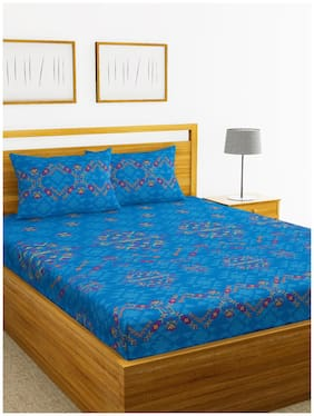 BIANCA Cotton Abstract King Size Bedsheet 180 TC ( 1 Bedsheet With 2 Pillow Covers , Blue )