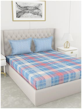 BIANCA Cotton Checkered King Size Bedsheet 210 TC ( 1 Bedsheet With 2 Pillow Covers , Blue )