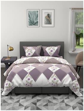 BIANCA [4pc] Ultra-Soft King-Size Ac Comforter & Bedsheet Set-1 Comforter, 1 Bedsheet, 2 Pillow Cover (aventine) floral-khaki/ivory