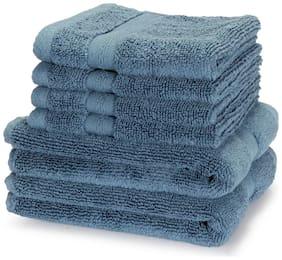BIANCA 500 GSM Cotton Hand & Face Towel Set ( Pack of 6 , Blue )