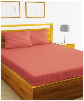 BIANCA Cotton Striped King Size Bedsheet 210 TC ( 1 Bedsheet With 2 Pillow Covers , Orange )