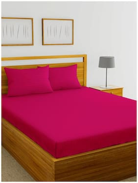 BIANCA Cotton Striped King Bedsheet ( 1 Bedsheet with 2 Pillow Covers , Pink )
