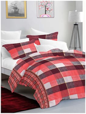 BIANCA Cotton Checkered King Size Bedsheet 144 TC ( 1 Bedsheet With 2 Pillow Covers , Grey )