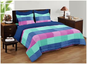 BIANCA Cotton Checkered Double Bedsheet ( 1 Bedsheet with 2 Pillow Covers , Multi )