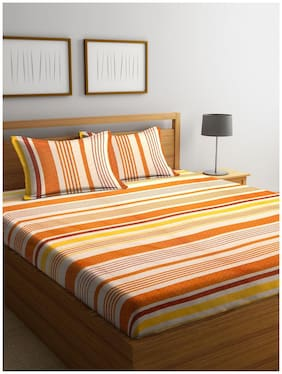 BIANCA Cotton Striped Double Size Bedsheet 110 TC ( 1 Bedsheet With 2 Pillow Covers , Multi )