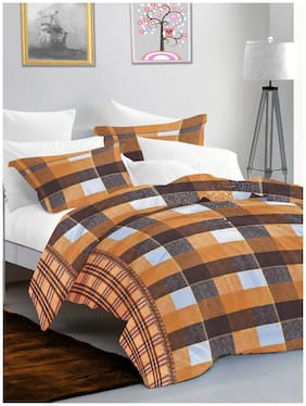 BIANCA Cotton Checkered King Size Bedsheet 144 TC ( 1 Bedsheet With 2 Pillow Covers , Brown )