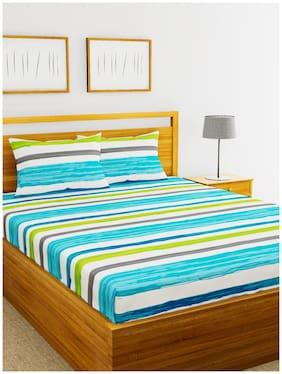 BIANCA Cotton Striped Double Bedsheet ( 1 Bedsheet with 2 Pillow Covers , Multi )