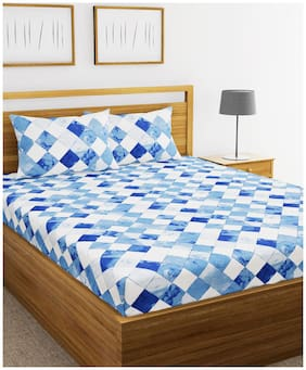 BIANCA Cotton Checkered Double Size Bedsheet 110 TC ( 1 Bedsheet With 2 Pillow Covers , Blue & White )