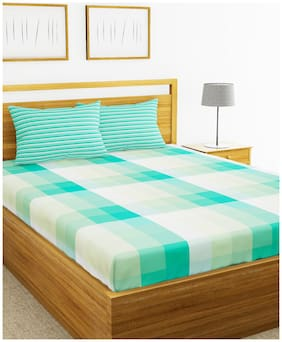 BIANCA Cotton Checkered King Size Bedsheet 144 TC ( 1 Bedsheet With 2 Pillow Covers , Turquoise & White )