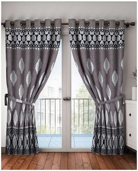 BIANCA Polyester Door Blackout Grey Regular Curtain ( Eyelet Closure , Motif )