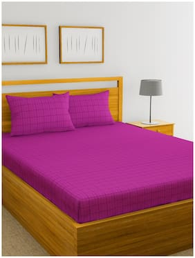 BIANCA Cotton Checkered King Bedsheet ( 1 Bedsheet with 2 Pillow Covers , Purple )