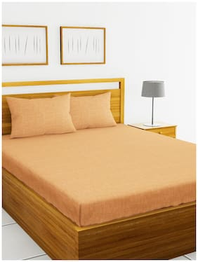 BIANCA Cotton Solid King Size Bedsheet 144 TC ( 1 Bedsheet With 2 Pillow Covers , Orange )