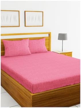 BIANCA Cotton Abstract King Size Bedsheet 144 TC ( 1 Bedsheet With 2 Pillow Covers , Red )
