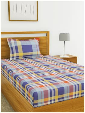 BIANCA Cotton Checkered Single Size Bedsheet 144 TC ( 1 Bedsheet With 1 Pillow Covers , Multi )