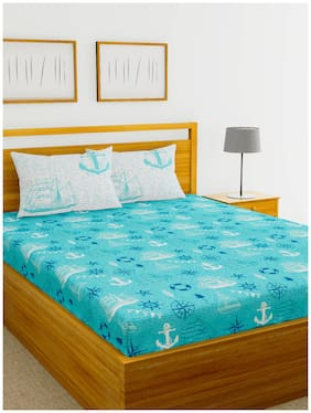 BIANCA Cotton Printed Double Bedsheet ( 1 Bedsheet with 2 Pillow Covers , Blue )