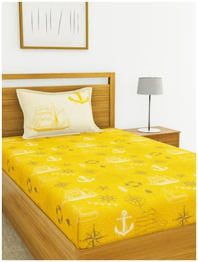 BIANCA Cotton Printed Single Size Bedsheet 144 TC ( 1 Bedsheet With 1 Pillow Covers , Yellow )