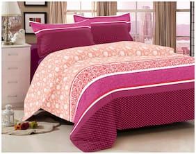 BIANCA Cotton Floral King Bedsheet ( 1 Bedsheet with 2 Pillow Covers , Pink )