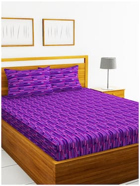 BIANCA Cotton Checkered Double Size Bedsheet 110 TC ( 1 Bedsheet With 2 Pillow Covers , Multi )