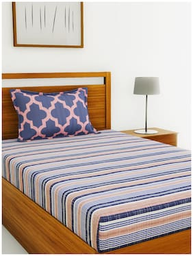 BIANCA Cotton Striped Single Size Bedsheet 144 TC ( 1 Bedsheet With 1 Pillow Covers , Blue )