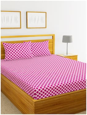 BIANCA Cotton Abstract Double Bedsheet ( 1 Bedsheet with 2 Pillow Covers , Pink & White )