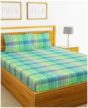 BIANCA Cotton Striped Double Bedsheet ( 1 Bedsheet with 2 Pillow Covers , Green & Blue )