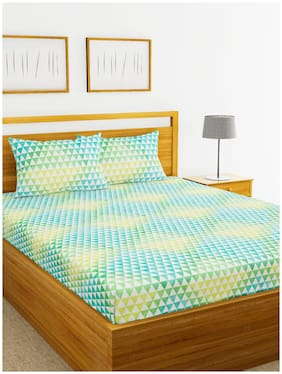 BIANCA Cotton Abstract Double Bedsheet ( 1 Bedsheet with 2 Pillow Covers , Multi )