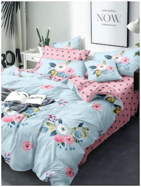 BIANCA Microfibre Floral Double Size Bedsheet 100 TC ( 1 Bedsheet With 2 Pillow Covers , Pink )