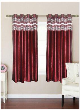 BIANCA Maroon Traditional Window Curtain Pure Living Retreat Maroon Small