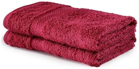 BIANCA 500 gsm GSM Cotton Hand towel ( 2 pieces , Maroon )