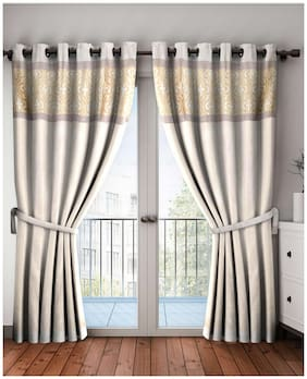 BIANCA Polyester Door Blackout Gold Regular Curtain ( Eyelet Closure , Abstract )