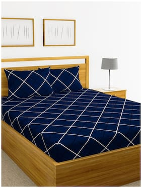 BIANCA Microfiber Checkered King Size Bedsheet 152 TC ( 1 Bedsheet With 2 Pillow Covers , Blue )