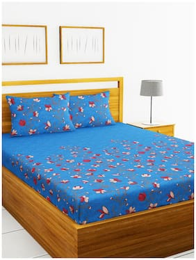BIANCA Cotton Floral King Size Bedsheet 180 TC ( 1 Bedsheet With 2 Pillow Covers , Blue )