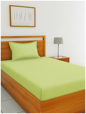 BIANCA Cotton Solid Single Size Bedsheet 210 TC ( 1 Bedsheet With 1 Pillow Covers , Green )