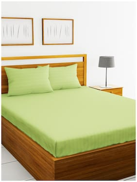 BIANCA Cotton Striped King Size Bedsheet 210 TC ( 1 Bedsheet With 2 Pillow Covers , Green )