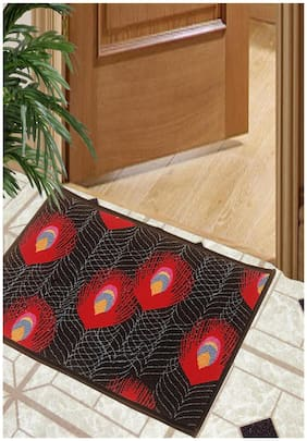 BIANCA Splender Door Mat With Nylon Fiber & High Density Rubber Backing Black Regular