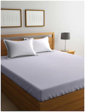 BIANCA Cotton Striped King Bedsheet ( 1 Bedsheet with 2 Pillow Covers , White )