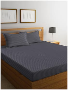 BIANCA Cotton Striped King Bedsheet ( 1 Bedsheet with 2 Pillow Covers , Grey )