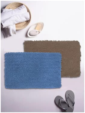 BIANCA Super-Soft Shaggy Floor Rug With Non-Slip Back -2pc Big (yakuza) solid-blue/brown