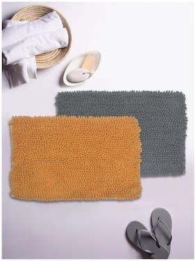 BIANCA Super-Soft Shaggy Floor Rug With Non-Slip Back -2pc Big (yakuza) solid-clay/grey
